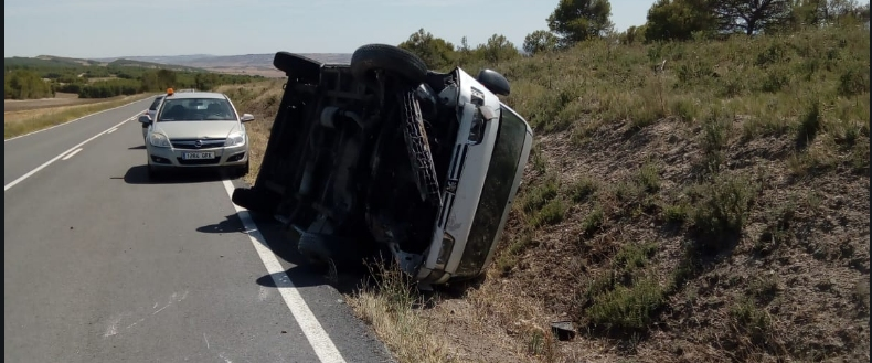 vuelco, accidente, Lodosa