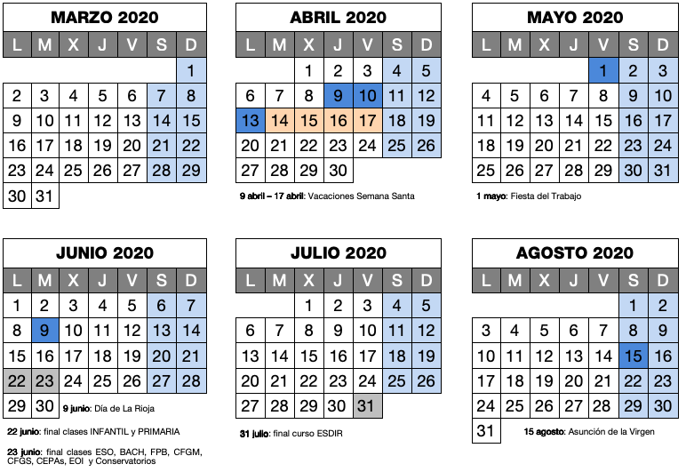 Calendario 2020 Marzo Abril.Calendario Escolar De La Rioja El Curso Empezara Un Viernes